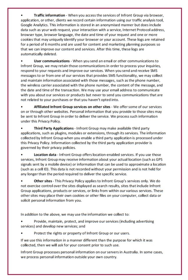 Infront Website Privacy Policy Page 2