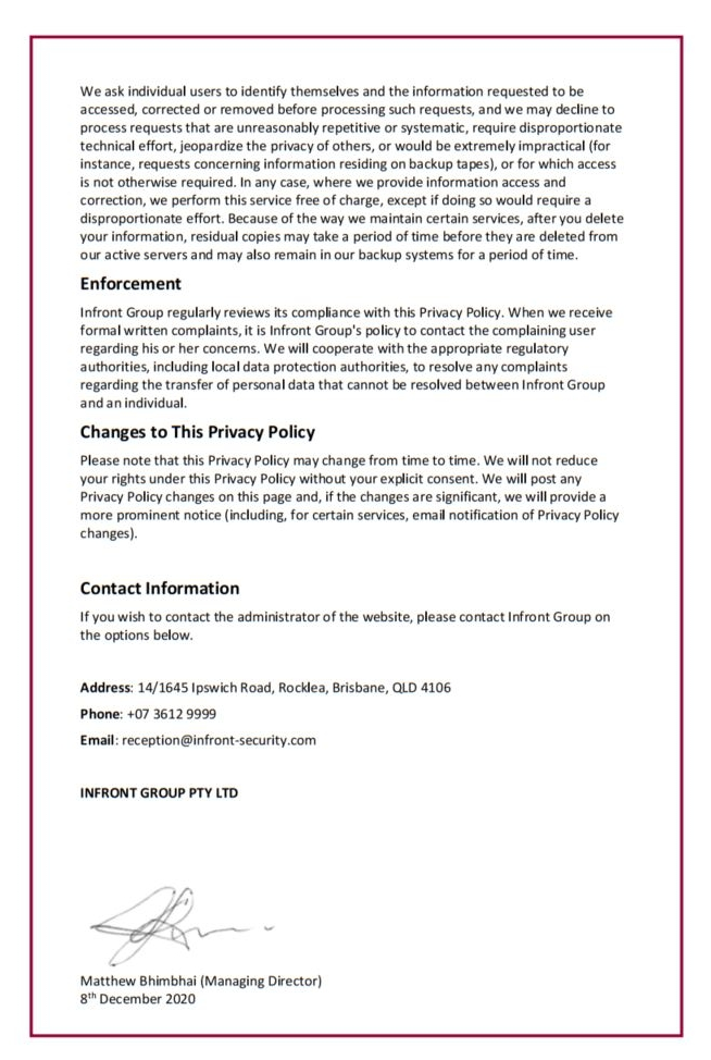 Infront Website Privacy Policy Page 4